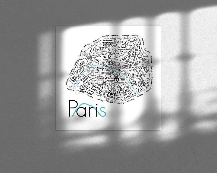 Sfeerimpressie: Plattegrond Parijs in woorden van Muurbabbels Typographic Design