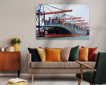 navire porte-conteneurs dans le port sur Lida Bruinen