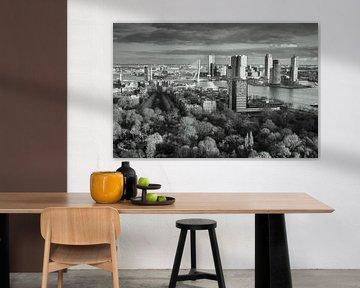 Skyline of Rotterdam schwarzweiß von Ilya Korzelius