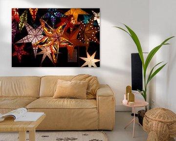 Farbige Sternen Weihnachtsmarkt Düsseldorf von Guido van Veen