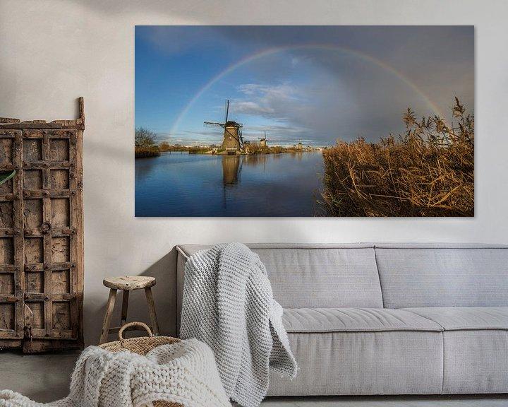 Sfeerimpressie: Regenboog boven Kinderdijk  van André Hamerpagt