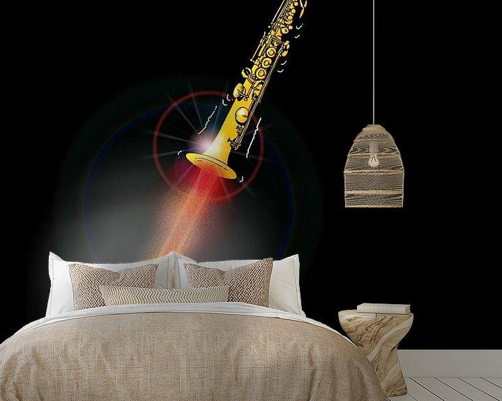Sfeerimpressie behang: Sopraansax als een Raket - Sky High Soprano van Maarten Hartog