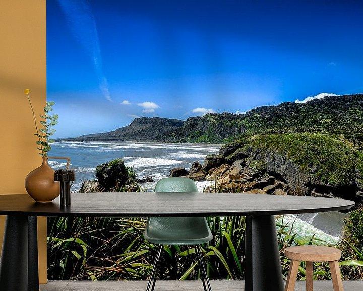 Sfeerimpressie behang: Kustlijn van Punakaiki - Nieuw Zeeland van Ricardo Bouman