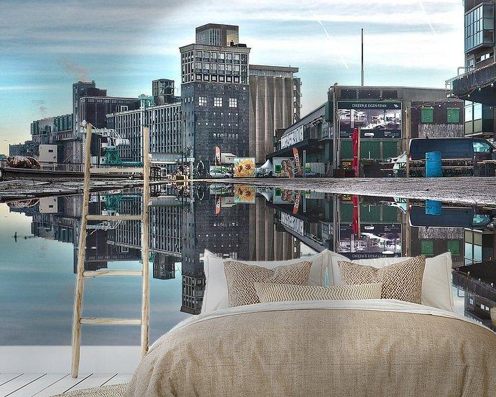 Sfeerimpressie behang: Graansilo en Fenixloodsen op Katendrecht, Rotterdam van Frans Blok