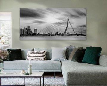 Skyline von Rotterdam in schwarz und weiß von Miranda van Hulst