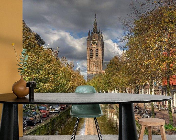 Sfeerimpressie behang: Oude Kerk van Delft van Jan Kranendonk