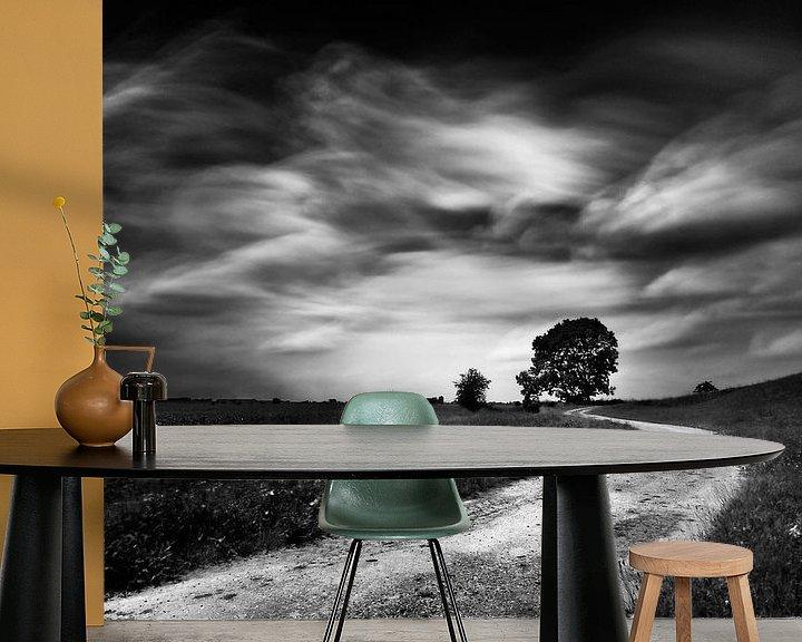 Beispiel fototapete: Slingerend weggetje op de dijk  met boom (zwart-wit) von John Verbruggen