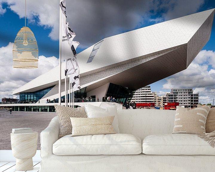 Beispiel fototapete: EYE film museum, Amsterdam met mooie wolkenlucht von John Verbruggen