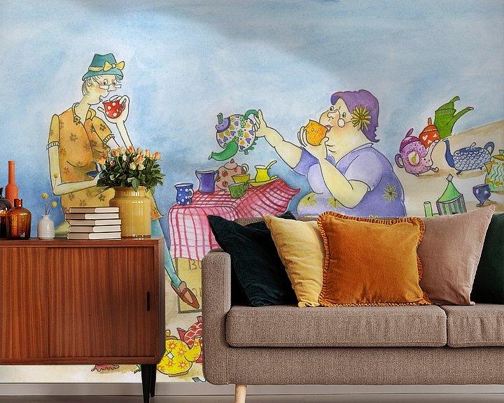 Sfeerimpressie behang: Theetantes van Martine van Nieuwenhuyzen