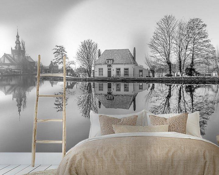 Sfeerimpressie behang: Het Veerhuis in Rotterdam Overschie z/w van MS Fotografie   Marc van der Stelt