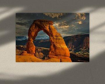 Delicate arch bij zonsondergang, Arches National Park, Utah