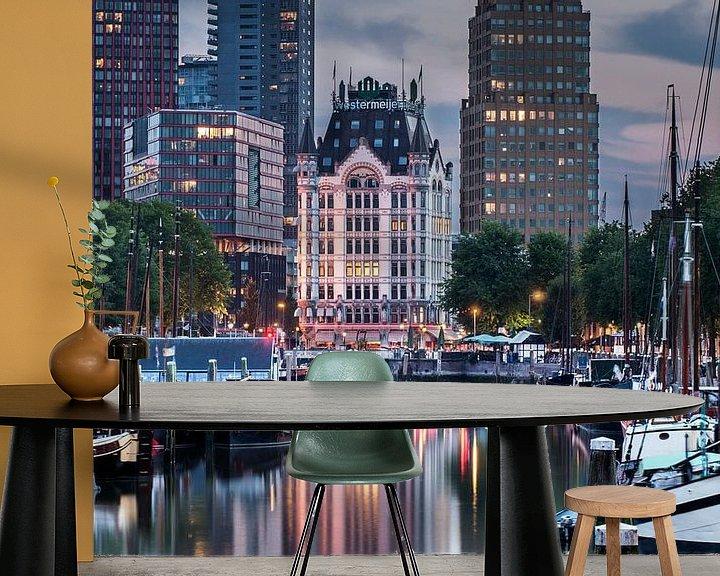 Sfeerimpressie behang: Rotterdam Skyline Old and New van Jan Sluijter