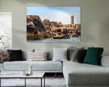 Vuurtoren in  Bretagne, Côte de Granit Rose, Frankrijk van 7Horses Photography