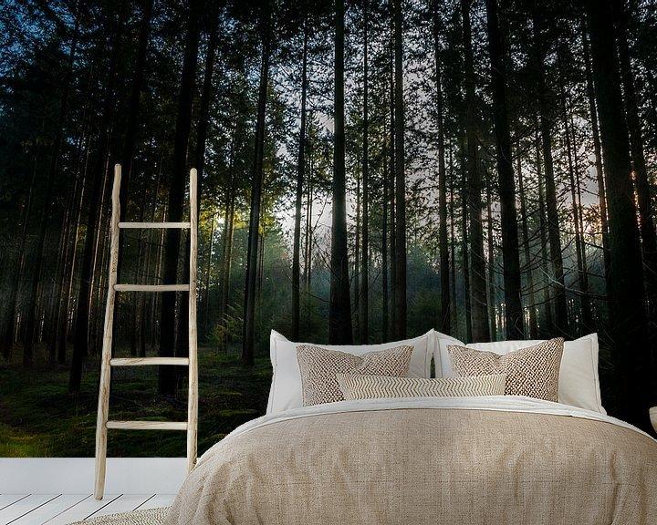 Sfeerimpressie behang: Zonnestralen in het bos van Jan Diepeveen