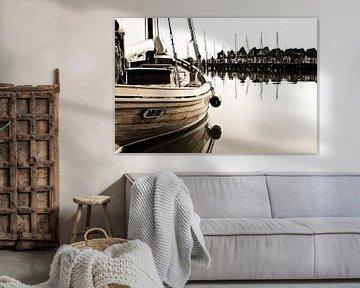 Sailing ship in a port van Rico Ködder
