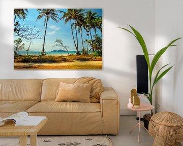 Tropisch strand van Queensland met zicht op Dunk Island, Australië van Rietje Bulthuis