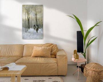 Ruiters in de sneeuw in het Haagse Bos, Anton Mauve