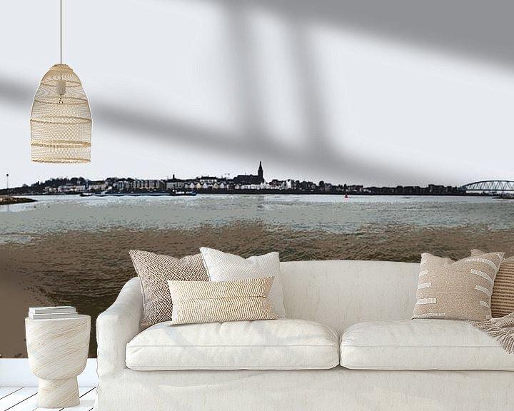 Sfeerimpressie behang: Nijmegen tussen twee bruggen van Maerten Prins