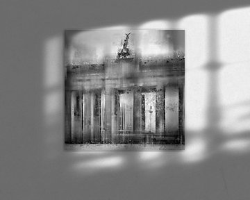 City-Art BERLIN Brandenburg Gate black&white van Melanie Viola