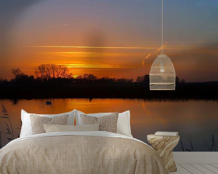 Sfeerimpressie behang: Zonsondergang met zwaan Onlanden Drenthe Nederland van R Smallenbroek