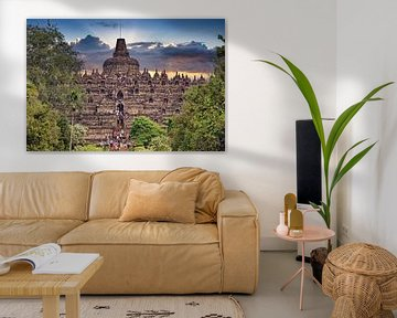 Borobudur bij zonsondergang van Eduard Lamping