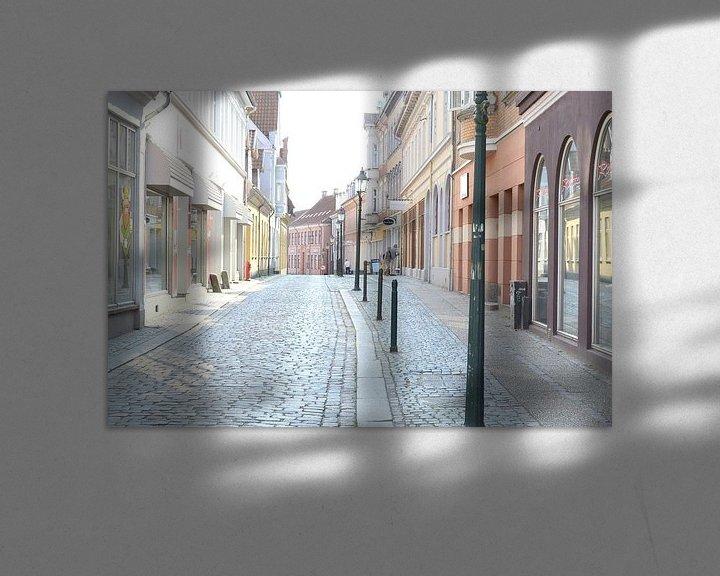 Sfeerimpressie: dorpsstraatje in Viborg denemarken in de zomer van 2015 van tiny brok