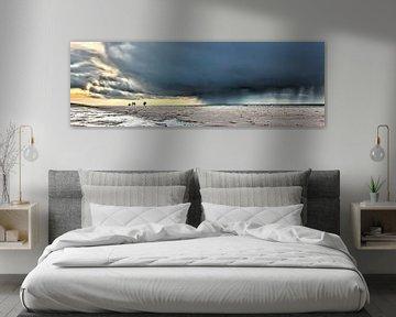 Donkere wolken met wandelaars op het strand von eric van der eijk