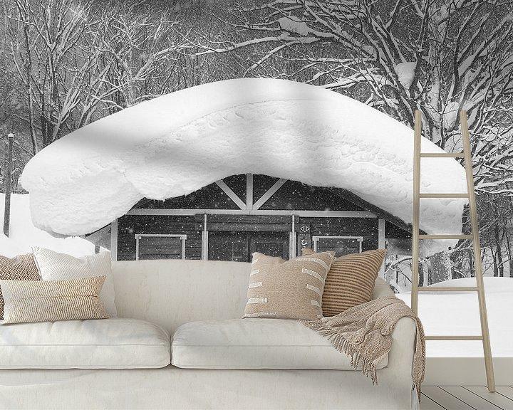 Sfeerimpressie behang: Dik pak sneeuw in Japan van Menno Boermans