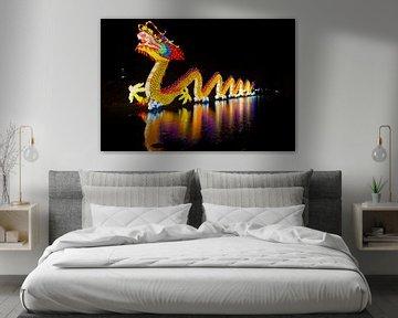 Gekleurde draak op het water