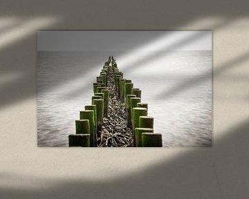 Buhne im Wattenmeer van Annette Sturm