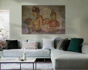 Muurschildering in Sigiriya van Gert-Jan Siesling