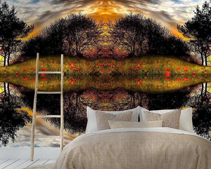 Sfeerimpressie behang: Spiegelung Silhouette van Peter Roder