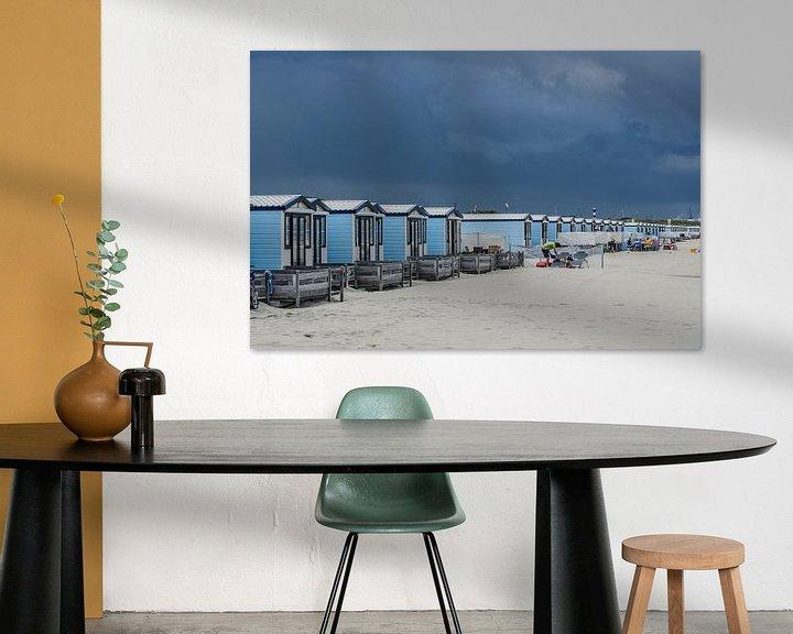 Sfeerimpressie: Strandhuisjes Hoek van Holland van Arthur Wolff