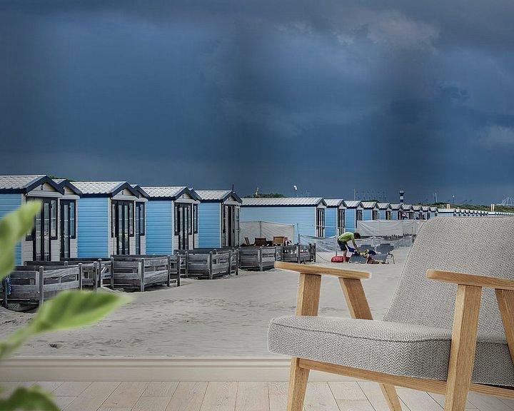 Sfeerimpressie behang: Strandhuisjes Hoek van Holland van Arthur Wolff