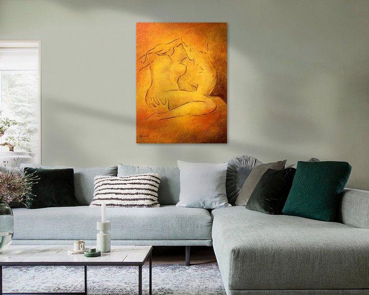 Beispiel: Flammende Leidenschaft - Aktmalerei Liebespaare von Marita Zacharias