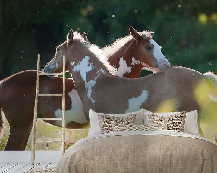 Sfeerimpressie behang: Wilde paarden in de Rijnstrangen van Tamara Witjes