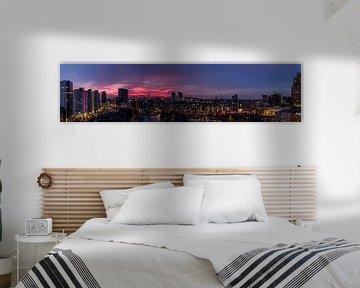 Panorama Rotterdam zonsondergang sur Rob van de Graaf