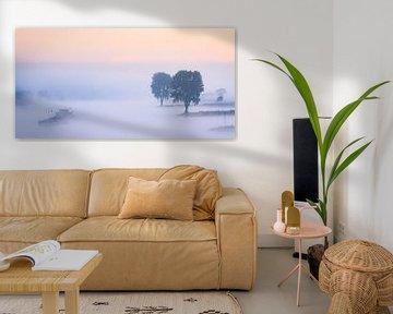 Panorama: Schip op de Lek in de mist von John Verbruggen