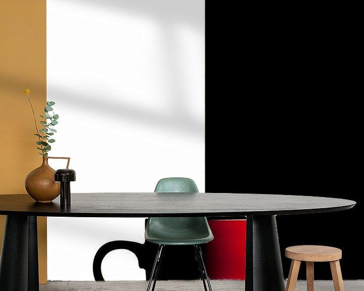 Sfeerimpressie behang: serie Simply Red, titel Zwart Wit (rode koffiekop) van Kristian Hoekman