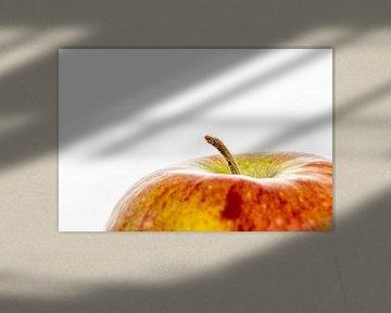 Een close-up van een appel met steeltje tegen een witte achtergrond van Hein Fleuren
