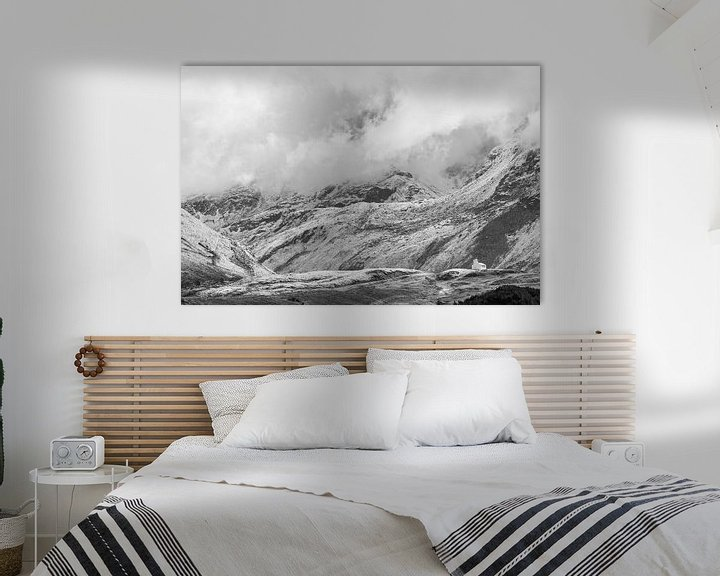 Sfeerimpressie: Silvretta hochalpenstrasse in Oostenrijk in zwart-wit van Damien Franscoise