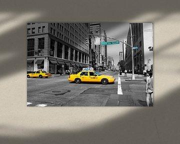 New York straatbeeld met Yellow Cabs.