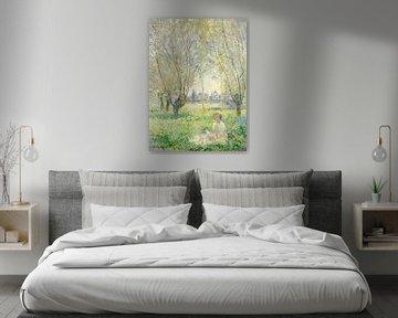 Frau unter Weiden sitzend - Claude Monet