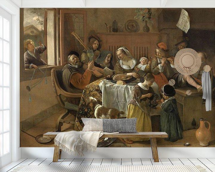 Beispiel fototapete: Die fröhliche Familie - Jan Havickszoon Steen