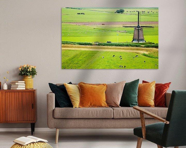 Impression: Hollands landschap met molen vanuit de lucht sur Paul Teixeira