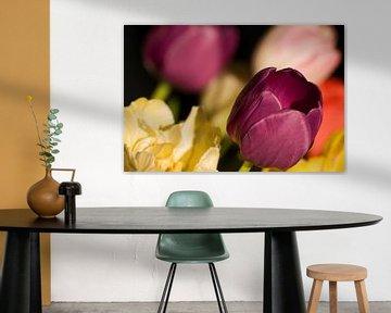 Boeket tulpen in geel en paars van Margot van den Berg