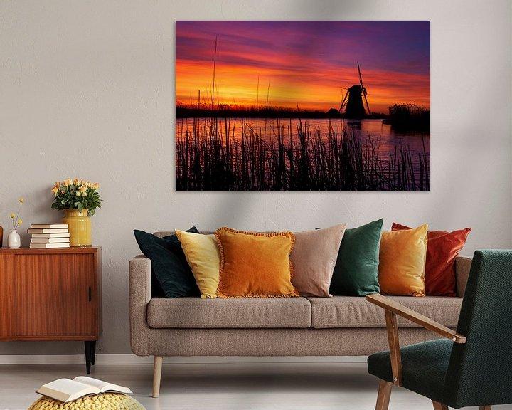 Sfeerimpressie: Vurige zonsopkomst langs de boezem nabij Groot Ammers van Jesse de Boom