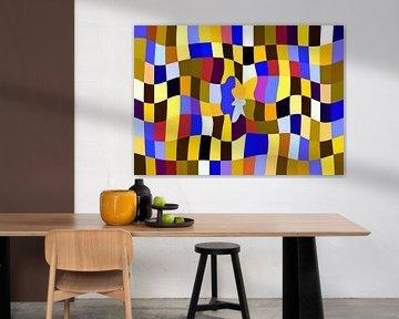 Cuby Club Yellows (Modern Vlakkenpatroon in Geel en Kobalt) van Caroline Lichthart