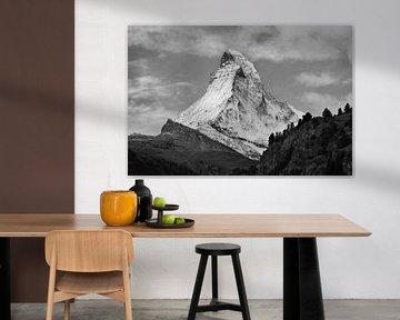 Matterhorn in zwart wit van Menno Boermans