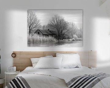 Winter tafereel langs de boezem in Groot Ammers